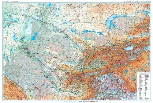 Zentralasien (Süd-Kasachstan, Kirgisistan, Tadschikistan, Osten Turkmenistan, Usbekistan) geographische Wandkarte / Planokarte 1:1.750.000 - 122x82 papier