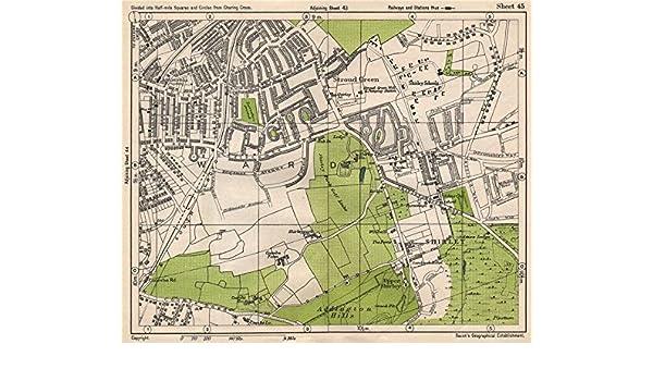 Map South East London.South East London Shirley Addiscombe E Croydon Stroud Green