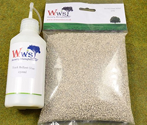 WWS GLUE & 500g GREY MEDIUM GRADE RAILWAY BALLAST FOR for sale  Delivered anywhere in UK