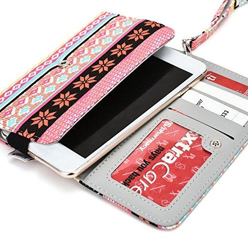 Kroo Téléphone portable Transport avec porte cartes de crédit pour de nombreux 5à 6pouces avec étui pour huawei/lenovo/LG/Motorola/Microsoft multicolore Navy Blue Red rose