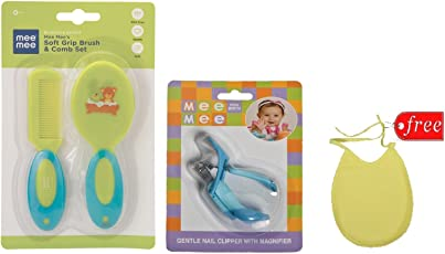 Mee Mee Soft Grip Brush and Comb Set Green with Mee Mee Nail Cutter (Colour May Vary) And Baby Bib Free