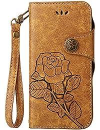 Funda Sony Xperia L1, COOSTOREEU Retro Floral en Relieve Florals PU Leather Flip Cartera Magnética con Ranuras de Tarjeta + Desmontable Correa de Muñeca Diseño de la Caja para Sony Xperia L1, Kaki