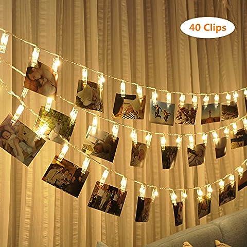 LED Foto Clips Lichterkette,40 Photo Clips 4.3M Batteriebetriebene Stimmungsbeleuchtung Dekoration für Hängendes Foto Memos Kunstwerke für Zuhause, Party, Weihnachten, Dekoration, Hochzeiten