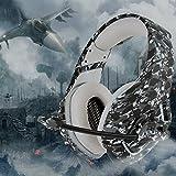 Gaming Headset Gaming Kopfhörer Camouflage für PS4 PC Xbox One, TedGem Stereo 3.5mm Noise Cancelling über Ohr Kopfhörer mit Mikrofon, LED-Licht, Bass Surround, Soft Memory-Ohrenschützer Sport Performance Ohrpolster, Lautstärkeregler von TedGem