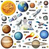 GET STICKING DÉCOR® Weltraum Sonnensystem Wandtattoo, Wandsticker Kollektion, JetRocket ssys.5, Glänzend Herausnehmbar Vinyl, Multi Farbe. (Large)
