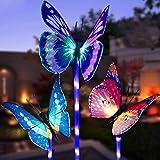 Luci solari da giardino a forma di farfalla,MMTX 3 pezzi Luce di palo solare cambiamento di colore Luci giardino LED Fibra ot