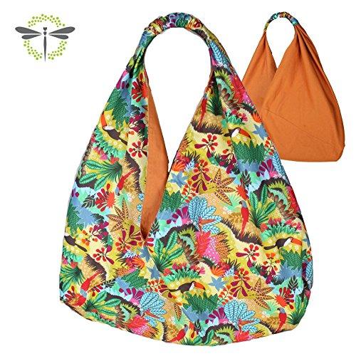 ORIGAMITASCHE Shopper Einkaufstasche Schultertasche - multi bunt & sommerlich Tucan > neues Design funktional & zum Wenden < (Hobo-geschenk)