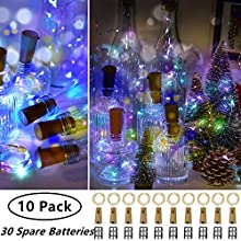 Ooklee Bottle Lights, 10 Pack with 30 Spare Battery Operated, 2m 20 LED Cork Light for Wine Bottles, Rainbow Pink Copper Wire Fairy String Lighting for Table Party Wedding Jar Xmas Decor(Multi Colour)