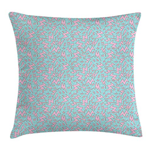 BALAETI Geometric Throw Pillow Cushion Cover, Vintage Eighties Cartoon Design Thunder Bolts Old Fashion Vintage Style, Decorative Square Accent Pillow Case, 18 X 18 inches, Pale Blue Pale Pink