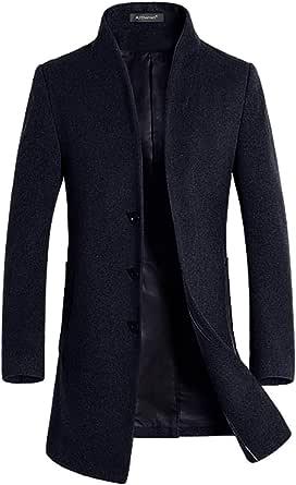 Allthemen Cappotto Invernale da Uomo Slim Fit Trenchcoat Lungo in Lana Coat Business Caldo da Lavoro a Manica Lunga