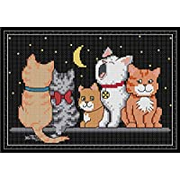CaptainCrafts New Stamped Cross Stitch Kits Preprinted Pattern Counted Embroidery Starter Kits for Beginner Kids and Adults - Five Kittens