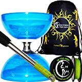 Diabolo Set Cyclone Quartz (Blau) Freiläufer (mit kugellager) Dreifache Lagerung Kombi-Set mit Diablo Alu-Handstäbe und Diaboloschnur (diabolo schnur ULTRA-SPIN Pro) 10m-Rolle +Reisetasche!