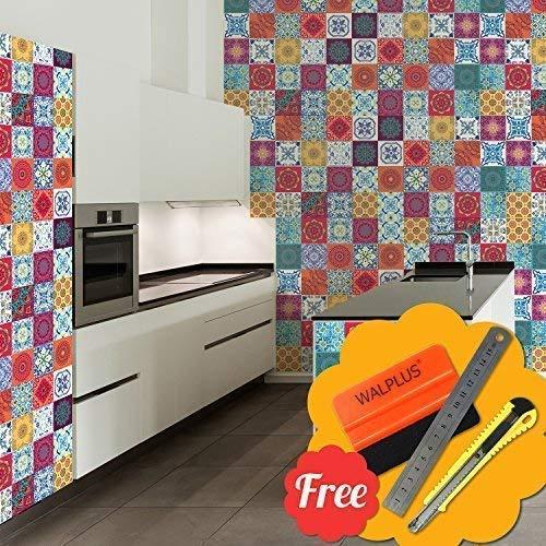 Walplus Entfernbarer Selbstklebend Wandkunst Aufkleber Vinyl Wohndeko DIY Wohnzimmer Schlafzimmer Küche Dekor Tapete Mandala Mix Rot Mosaik Wand Fliesen Aufkleber 48 Stk. 15cm X 15cm