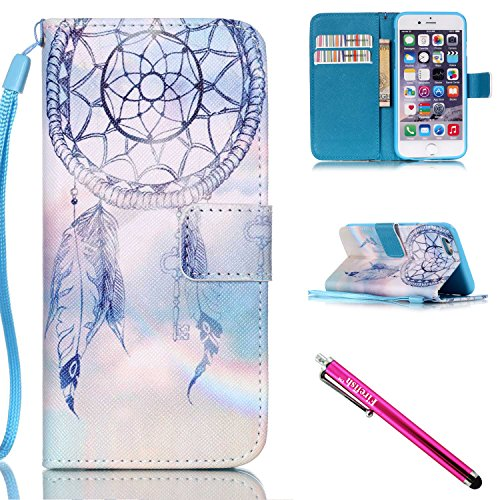 iPhone 5/5S/SE Hülle, Slim Retro PU Leder Bookstyle Hülle Tasche Flip Wallet Case mit Strap Portable Handytasche Anti-Scratch Shell Cash Pouch ID Card Slot Magnetverschluss Etui Soft Silikon für Apple iPhone 5 5S SE