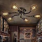 BAYCHEER Deckleuchte Industrielampe 6 Lampenfassung 65cm Retro Kupfer Semi Flush Deckenlampe Kronleuchte Pendellampe (6 Lampen)
