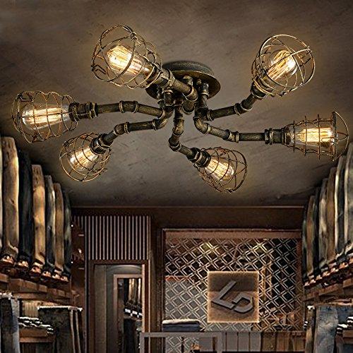 BAYCHEER Deckleuchte Industrielampe 6 Lampenfassung 65cm Retro Kupfer Semi Flush Deckenlampe Kronleuchte Pendellampe (6 Lampen) -
