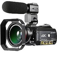Caméscope 4K, Caméra vidéo numérique Ultra-HD Ordro 4K avec Microphone Externe, Grand Angle et Parasoleil/Caméscope IR Vision Nocturne 24MP WiFi 60fps par Emperor of Gadgets® (Ensemble Complet)