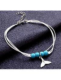 1 tobillera de playa con cuentas de cola de sirena y perla azul, color blanco