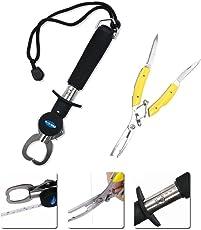 URXTRAL Fisch Greifer Tragbarer, Fisch Lip Grabber und Angeln Zange Edelstahl Tools Set mit Skala und Tape