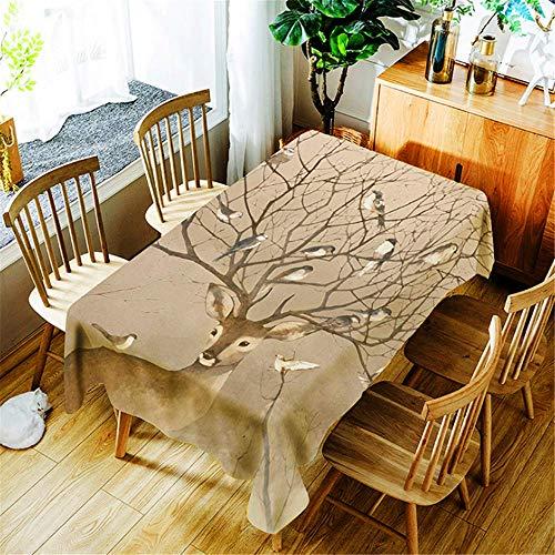 chdecke wasserdicht Rechteckig Elch Baumwolle Tischdecke Esstisch Abdeckung Home Halloween Dekoration F 150x210cm ()