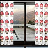 COOSUN Emoji Sammlung Unterschied Emoticon Pilz Cartoon Sheer Vorhang  Panels Tüll Polyester Voile Fenster Behandlung Panel