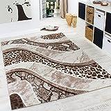 PHC Edler Designer Teppich in Leoparden Schlangen Muster Braun Beige Creme Meliert, Grösse:160x230 cm
