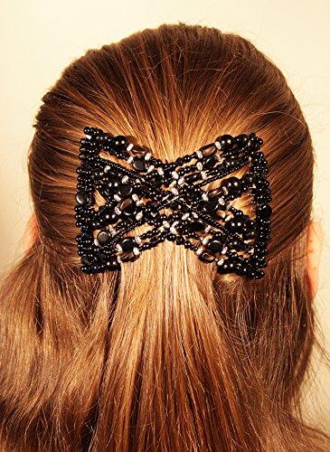 Mebella Frauen/Damen-Haarspange, dehnbar, Doppel-Kamm, Schleifen-Design