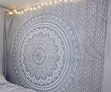 Wandteppich in Queen-Größe als Tagesdecke mit Mandala, Bohemian, psychedelischem Muster, 234 x 208 cm grau