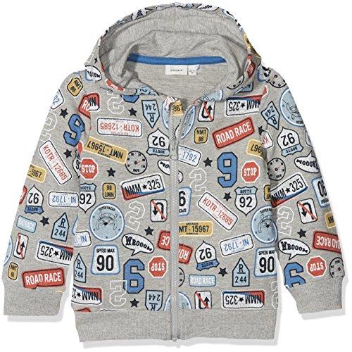 NAME IT Baby-Jungen Sweatshirt Nmmerland Swe Card W Hood Unb, Mehrfarbig (Grey Melange), 98