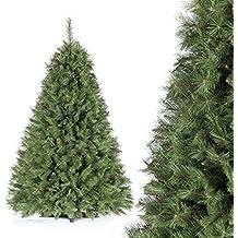 FAIRYTREES albero di Natale finto ABETE DEL CAUCASO, Materiale PVC, vere pigne d'abete, incl. supporto, 180cm, FT05-180