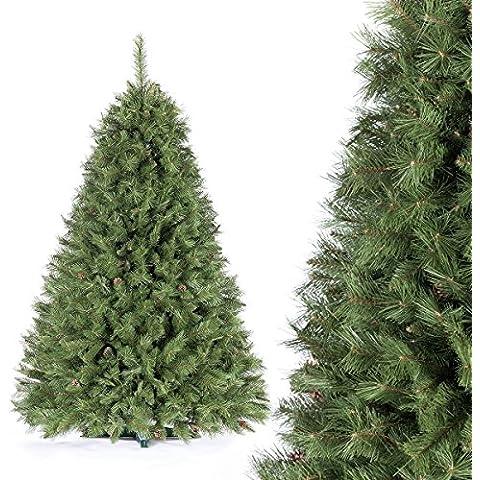 FAIRYTREES albero di Natale finto ABETE DEL CAUCASO, Materiale PVC, vere pigne d'abete, incl. supporto in metallo, 220cm, FT05-220