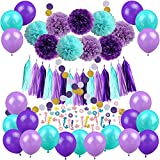 Mermaid Party Decorations, Zerodeco 57 Pz Pom Poms Carta Nappa a pois Ghirlanda Mermaid Confetti Palloncini per sirene Compleanno Baby Shower Frozen Under the Sea Articoli per feste di compleanno - Teal Lavender Viola