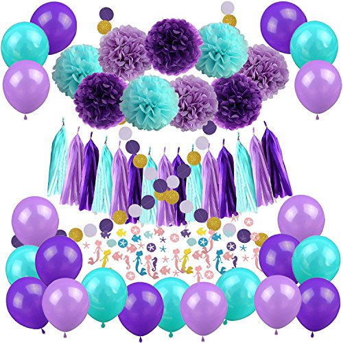 Zerodeco Meerjungfrau Party Dekorationen, Mermaid Papier Pompoms Polka Dot GirlandeSeidenpapier Quaste Garland Mermaid Konfetti Luftballons für Mädchengeburtstags-Party Brautduschendekorationen - Für Die Partei Geld-baum