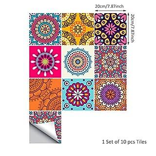 AIHOME Deko Stickerfliesen PVC Fliesenaufkleber für Küche und Bad 10 Teiliges Set, 15x15cm, 20x20cm
