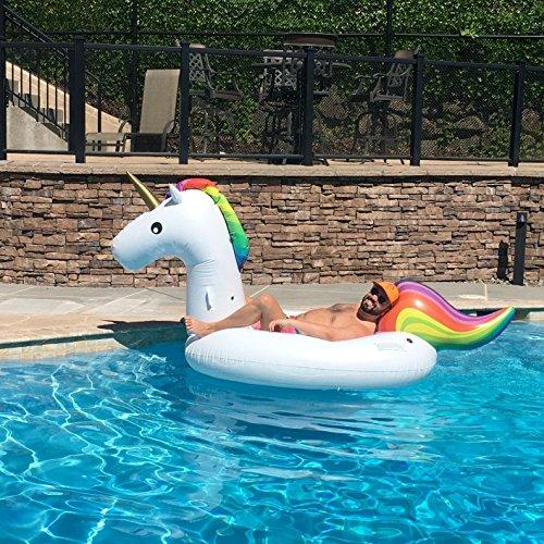Riesiges aufblasbares Einhorn Schwimmtier, Pool Aufblasbar Spielzeug Für Kinder Erwachsene, PVC Aufblasbarer Schwebebett mit Schnell Ventile (Einhorn)