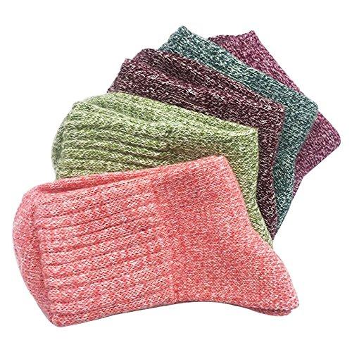 Damen Winter Socken Warme Baumwolle Dicke Bunte Farben Wollsocken Einheitsgröße Atmungsaktiv Warm Weich 5er Pack