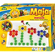 LENA- Mosaik Ape Maja, 80 Spine Colorate, Spina 15 mm, Gioco a Mosaico per Bambini a Partire dai 3 Anni, Set Completo con Piastra a Incastro ca. 21 x 16 cm, Colore Trasparente, 35613