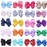 """20Pcs Solid Grosgrain Ribbon Boutique Hair Bows Alligator Clips for Baby Girls Kids Teens Toddlers Children Gift 3.5"""" (20pcs bow clip)"""