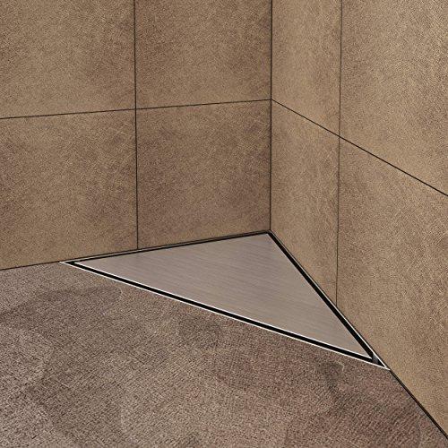 VILSTEIN VS-DB02-25R Duschrinne mit Siphon Boden-und Duschablauf, Dreieckig Randablauf, Silber, 25 x 25 cm