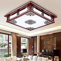 BBSLT Illuminazione moderna stile cinese soffitto lampada rettangolare LED Studio semplice tinta legno camera da letto salotto lampada lampada 450 * 450mm