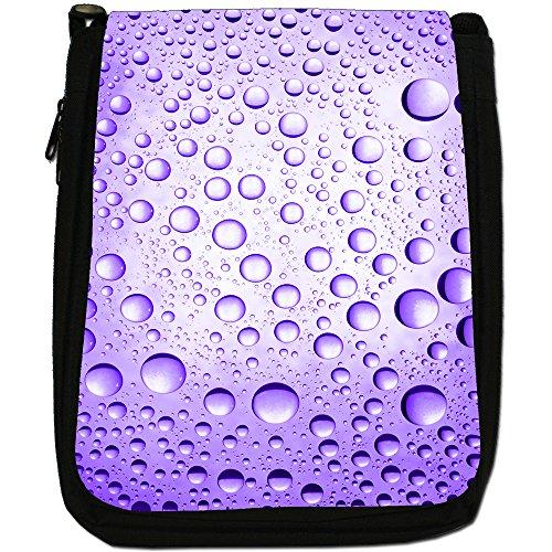 Acqua colorata gocce Medium Nero Borsa In Tela, taglia M Purple Water Droplets