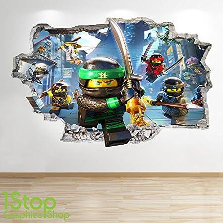 1Stop Graphics Shop Lego Ninjago-Smashed – 3D WANDTATTOO FÜR KINDERZIMMER, Vinyl Z726