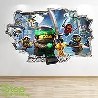 LEGO NINJAGO-SMASHED - 3D WANDTATTOO FÜR KINDERZIMMER, VINYL Z726 Size: Large