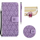 Flip Wallet Case For Motorola Moto G4 Play Premium PU Leather Shell,SKYXD Elegant Embossed Leaves Floral Pattern Silicone Frame Retro Solid Color Design[With Card Holder] Magnetic Closure Folio Cover For Motorola Moto G4 Play,Purple
