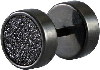 Zivom Disco Black White 316L Surgical Stainless Steel Black Silver Rhodium Ear Stud Earring Pair Boys Men Gift