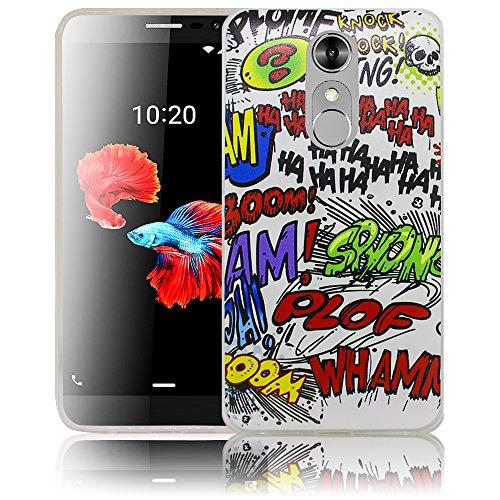 thematys Passend für ZTE Blade A910 Comic Haha Silikon Schutz-Hülle weiche Tasche Cover Case Bumper Etui Flip Smartphone Handy Backcover Schutzhülle Handyhülle ZTE Blade A910