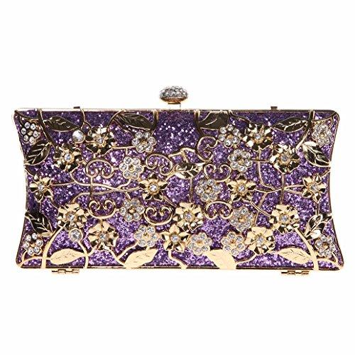 Bonjanvye Shining Metallic Floral Clutch Bags for Girls Handbags Purses Silver Purple