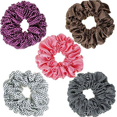 Hair Styling Haarstyling Set von 5x Satin Haargummis Haarbänder Haar Bands Pferdeschwänzen Halterungen Haargummis in verschiedenen Farben -
