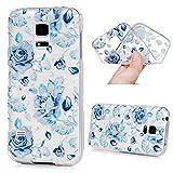MAXFE.CO TPU Silikon Hülle für Samsung Galaxy S5 mini Handyhülle Schale Etui Protective Case Cover Rück mit Ultra slim Skin Volltonfarbe Design Skin Farbe Blaue Rosen