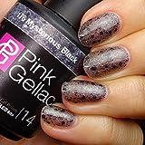 Pink Gellac Gel-Nagellack Shellac,Glamourize Kollektion 15ml UV Nagellack farbiger Nagellack Nagellackfarben (176 Mysterious Black)